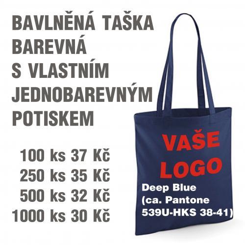 Taška bavlněná barevná s vlastním jednobarevným potiskem Deep blue