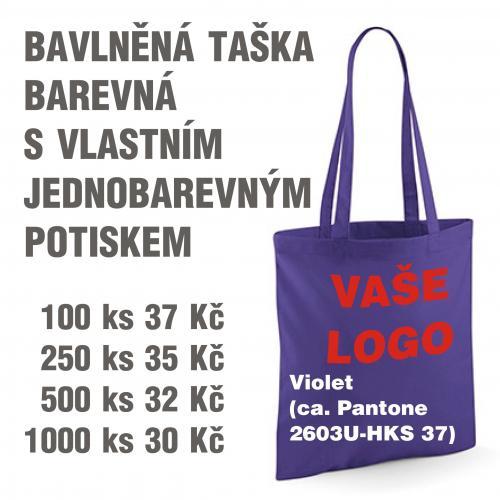 Taška bavlněná barevná s vlastním jednobarevným potiskem Violet