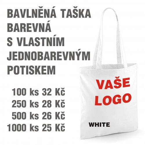 Taška bavlněná barevná s vlastním jednobarevným potiskem white