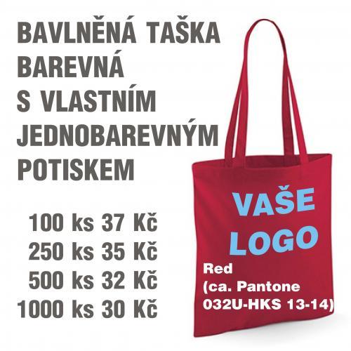 Taška bavlněná barevná s vlastním jednobarevným potiskem Red