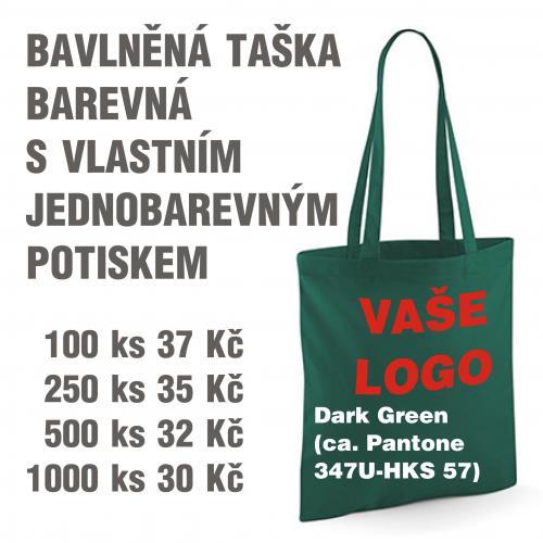 Taška bavlněná barevná s vlastním jednobarevným potiskem Dark green