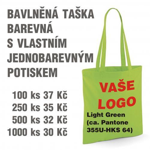 Taška bavlněná barevná s vlastním jednobarevným potiskem Light green