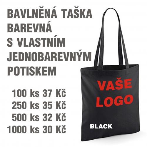 Taška bavlněná barevná s vlastním jednobarevným potiskem Black