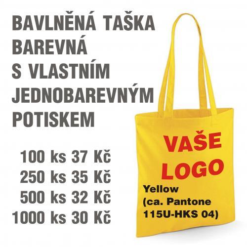 Taška bavlněná barevná s vlastním jednobarevným potiskem Yellow