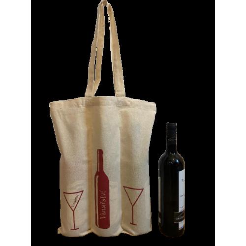 100 ks Bavlněných tašek na 3 lahve vína dlouhá ucha