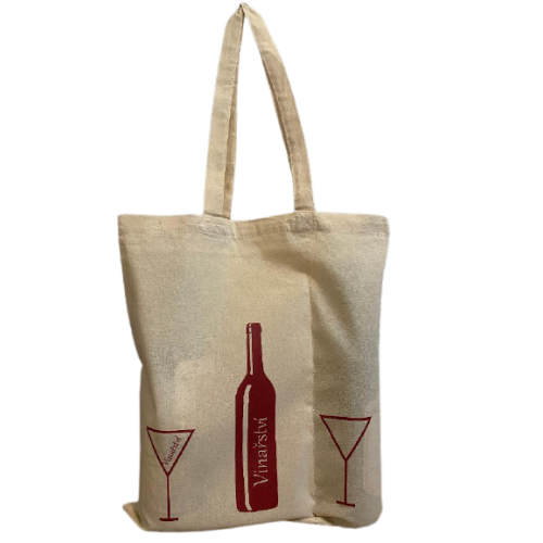 100 ks Bavlněných tašek na 2 lahve vína dlouhá ucha
